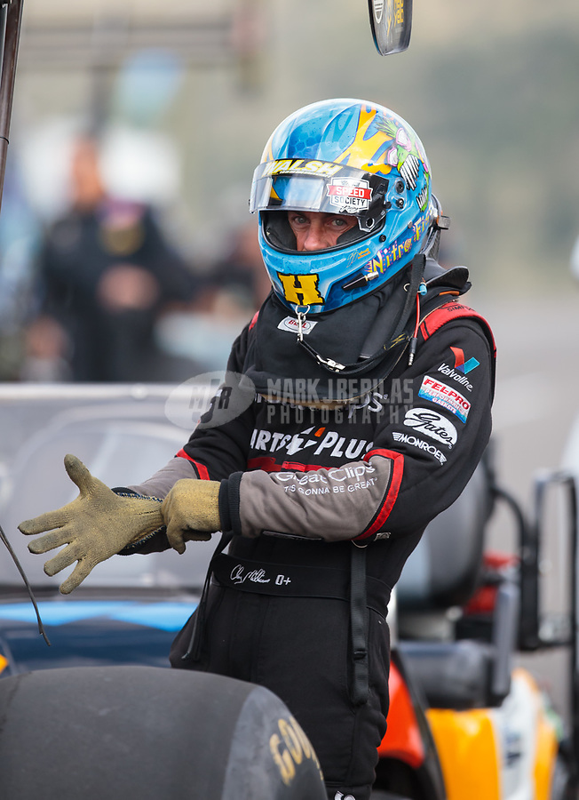 Jul 20, 2018; Morrison, CO, USA; NHRA top fuel driver Clay Millican during qualifying for the Mile High Nationals at Bandimere Speedway. Mandatory Credit: Mark J. Rebilas-USA TODAY Sports