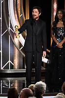 Christian Bale accepts the Golden Globe Award for BEST PERFORMANCE BY AN ACTOR IN A MOTION PICTURE &ndash; COMEDY OR MUSICAL for his role in &quot;Vice&quot; at the 76th Annual Golden Globe Awards at the Beverly Hilton in Beverly Hills, CA on Sunday, January 6, 2019.<br /> *Editorial Use Only*<br /> CAP/PLF/HFPA<br /> Image supplied by Capital Pictures