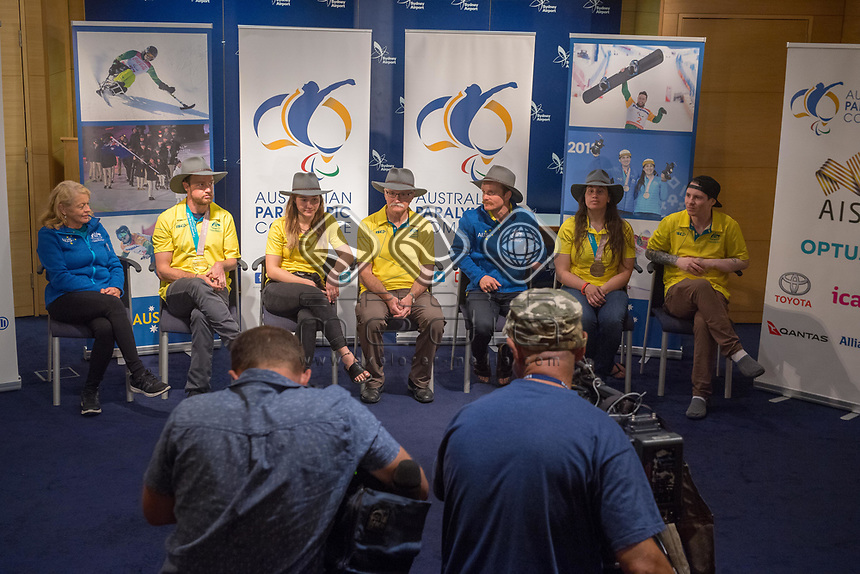 Welcome home / Press Conference<br /> PyeongChang 2018 Paralympic Games<br /> Australian Paralympic Committee<br /> Sydney International Airport<br /> PyeongChang South Korea<br /> Tuesday March 20th 2018<br /> © Sport the library / Jeff Crow