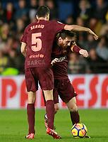 FC Barcelona's Sergio Busquets (l) and Leo Messi during La Liga match. December 10,2017. (ALTERPHOTOS/Acero)<br /> Liga Campionato Spagna 2017/2018<br /> Foto Alterphotos / Insidefoto <br /> ITALY ONLY