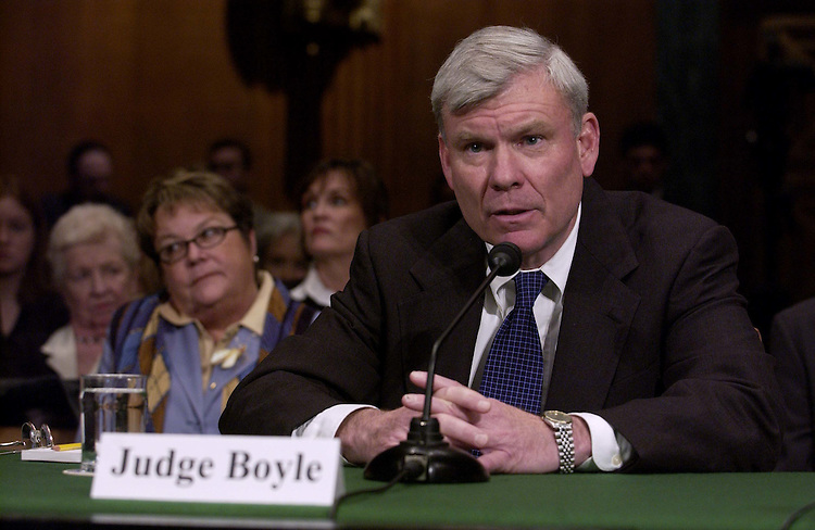 03/03/05.JUDICIAL NOMINATIONS HEARING--Judge Terrence W. Boyle during the Senate Judiciary hearing on his nomination to be United State Circuit Judge for the Fourth Circuit; James C. Dever III of North Carolina to be United States District Judge for the Eastern District of North Carolina; and Robert J. Conrad Jr., of North Carolina to be United States District Judge for the Western District..CONGRESSIONAL QUARTERLY PHOTO BY SCOTT J. FERRELL