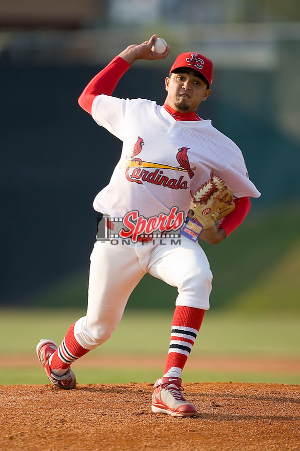 Starting pitcher Carlos Gonzalez (18) of the Johnson City Cardinals in action at Howard Johnson Field in Johnson City, TN, Thursday July 3, 2008.