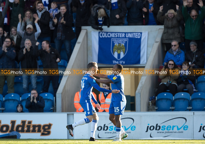 Ben Stevenson of Colchester United celebrates his opening goal during Colchester United vs Plymouth Argyle, Sky Bet EFL League 2 Football at the JobServe Community Stadium on 8th February 2020