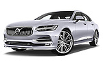 Stock pictures of low aggressive front three quarter view of 2017 Volvo S90 Inscription 4 Door Sedan Low Aggressive