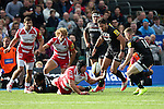 Gloucester's Ben Morgan attempts to gather a loose ball, but fails - Rugby Union - 2014 / 2015 Aviva Premiership - Saracens vs. Gloucester - Allianz Park Stadium - London - 11/10/2014 - Pic Charlie Forgham-Bailey/Sportimage