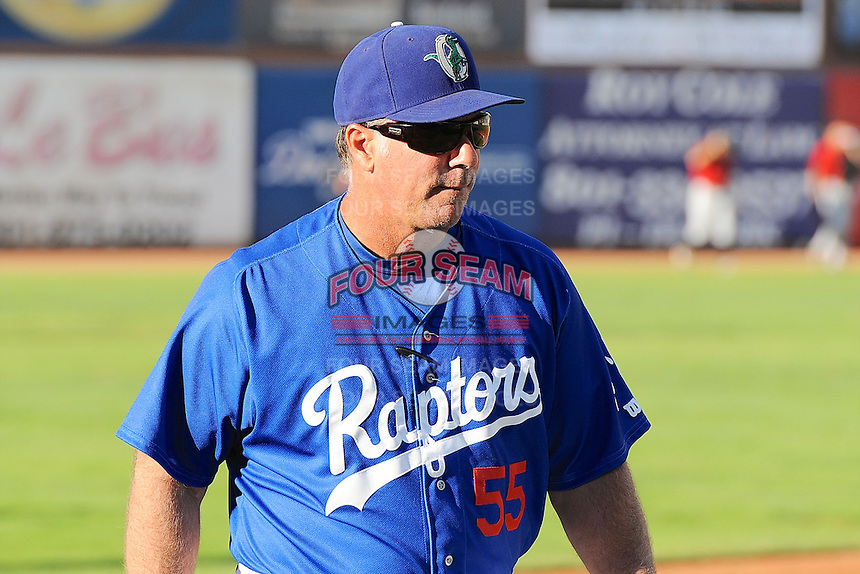 Ogden Raptors manager Damon Berryhill (55) prior to the game against the Great Falls Voyagers at Lindquist Field on August 13, 2013 in Ogden Utah. (Stephen Smith/Four Seam Images)