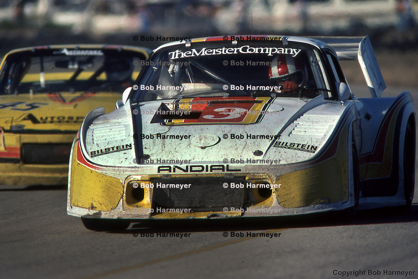 Rolf Stommelen drives a Porsche 935 during the 1981 12 Hours of Sebring auto race near Sebring, Florida.
