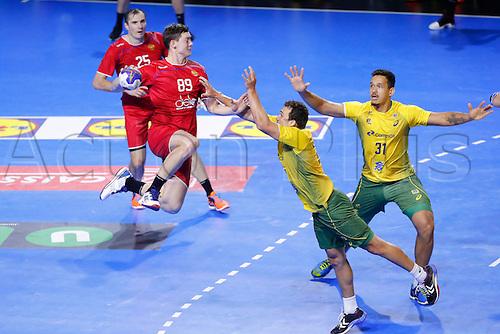 January 19th 2017; Nantes, France, IHF World handball Championships, Russia versus Brazil;  Dmitrii Zhitnikov (Rus) defended by Joao Pedro Silva (Bra)