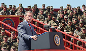 United States President George W. Bush addressed more than 20,000 Marines, sailors and families at the W.P.T. Hill Field here April 3, 2003.   The president thanked the service members for their dedication and military families for their sacrifices while separated from spouses deployed in support of Operation Iraqi Freedom. <br /> Mandatory Credit: Donald E. Preston / DoD via CNP
