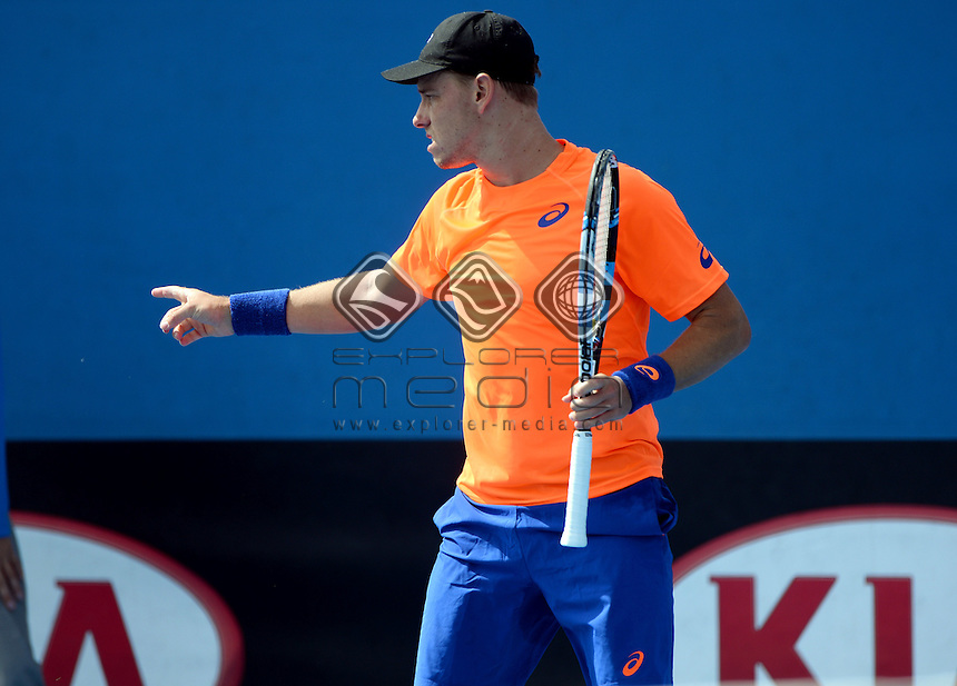 James Duckworth (AUS) round 1 action<br /> 2015 Australian Open Tennis <br /> Grand Slam of Asia Pacific<br /> Melbourne Park, Vic Australia<br /> Monday 19 January 2015<br /> &copy; Sport the library / Jeff Crow