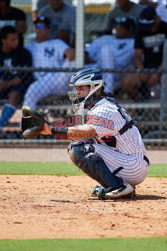 GCL Yankees East catcher Pedro Diaz (55) waits to receive a pitch during a game against the GCL Blue Jays on August 2, 2018 at Yankee Complex in Tampa, Florida.  GCL Yankees East defeated GCL Blue Jays 5-4.  (Mike Janes/Four Seam Images)