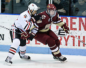 Justin Daniels (NU - 11), Jimmy Hayes (BC - 10) - The Northeastern University Huskies defeated the Boston College Eagles 3-2 on Friday, February 19, 2010, at Matthews Arena in Boston, Massachusetts.