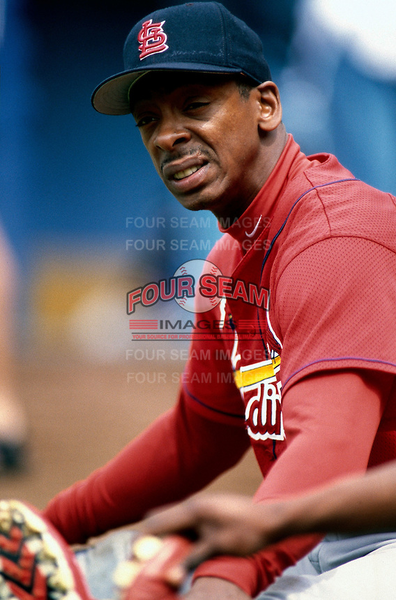 Willie McGee of the St. Louis Cardinals participates in a Major League Baseball game at Dodger Stadium during the 1998 season in Los Angeles, California. (Larry Goren/Four Seam Images)