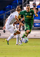 13th July 2020, Orlando, Florida, USA;  Portland Timbers midfielder Sebastian Blanco (10) runs with the ball during the MLS Is Back Tournament between the LA Galaxy versus Portland Timbers on July 13, 2020 at the ESPN Wide World of Sports, Orlando FL.