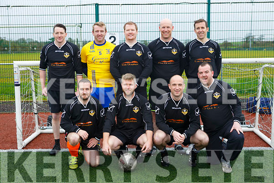At the Over 35s Inter-Firm Soccer Tournament at John Mitchels sports complex were Ballymac galaxy front L-r Mke Duggan, Larry Kelly, Noel Dillon, Keith Roche Back l-r John Casey, Pádraig Laide, Ton Canty, Kevin Leen and Colm Delacy