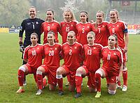 20190409  - Tubize , BELGIUM : Swiss team with Elvira Herzog (1)   Victoria Bischof (2)   Kattalin Stahl (5)   Malin Gut (6)   Sabina Jackson (7)   Svenja Folmli (9)   Chiara Messerli (10)   Tyara Buser (11)   Nadine Riesen (13)   Leana Zaugg (15)   Seraina Piubel (20)   pictured during the soccer match between the women under 19 teams of Switzerland and Finland , on the third matchday in group 2 of the UEFA Women Under19 Elite rounds in Tubize , Belgium. Tuesday 9 th April 2019 . PHOTO DIRK VUYLSTEKE / Sportpix.be