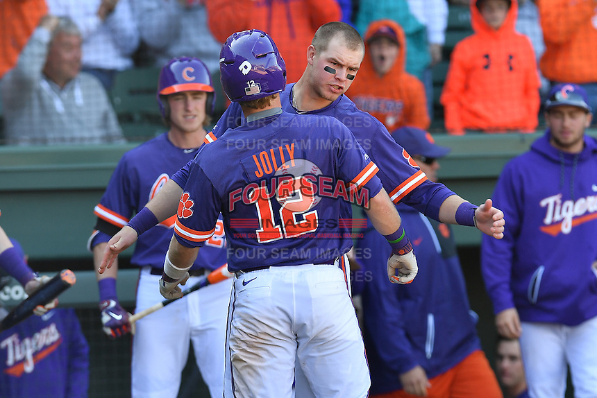 Catcher Robert Jolly (12) of the Clemson Tigers is congratulated by Seth Beer after scoring in the Reedy River Rivalry game against the South Carolina Gamecocks  on Saturday, March 4, 2017, at Fluor Field at the West End in Greenville, South Carolina. Clemson won, 8-7. (Tom Priddy/Four Seam Images)