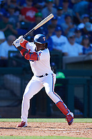 Adolis Garcia (53) of the Texas Rangers at bat during a Cactus League Spring Training game against the Los Angeles Dodgers on March 8, 2020 at Surprise Stadium in Surprise, Arizona. Rangers defeated the Dodgers 9-8. (Tracy Proffitt/Four Seam Images)