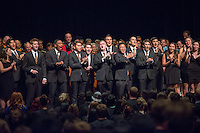 Glee Club. Incoming first-years start the year at Occidental College's 127th annual Convocation ceremony on Aug. 28, 2013 in Thorne Hall.<br /> (Photo by Marc Campos, Occidental College Photographer)