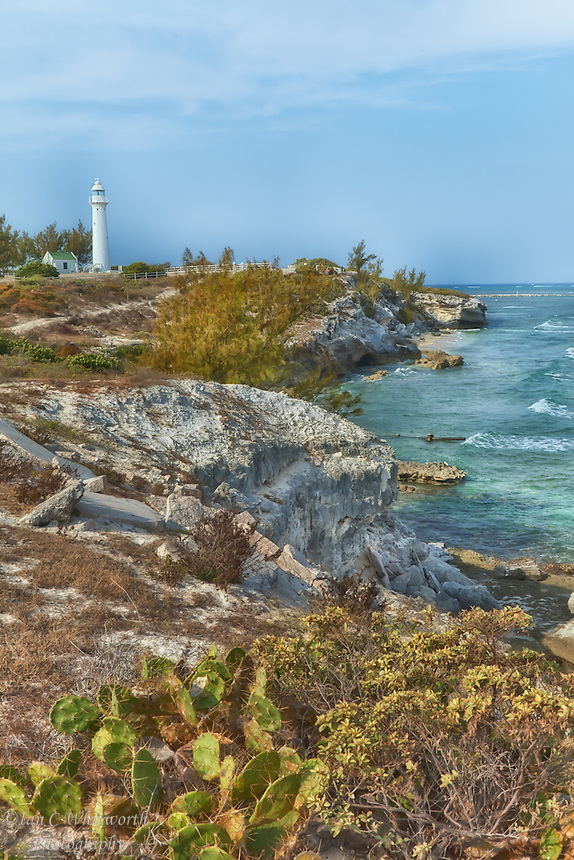 A view of the northern coastline of Grand Turk with the historic lighthouse.