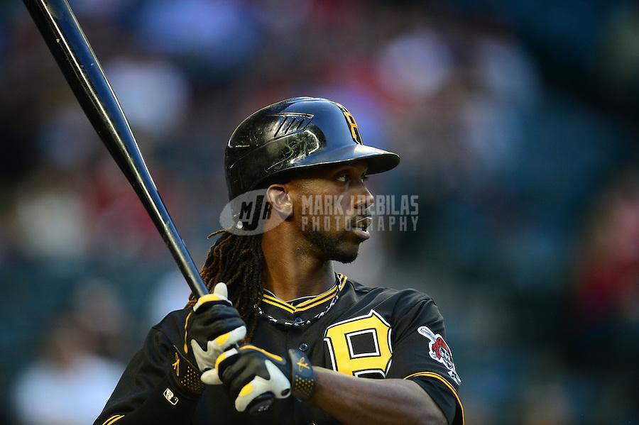 Apr. 17, 2012; Phoenix, AZ, USA; Pittsburgh Pirates outfielder (22) Andrew McCutchen against the Arizona Diamondbacks at Chase Field. Mandatory Credit: Mark J. Rebilas-