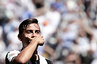 Calcio, Serie A: Juventus vs Crotone. Torino, Juventus Stadium, 21 maggio 2017.<br /> Juventus&rsquo; Paulo Dybala celebrates after scoring during the Italian Serie A football match between Juventus and Crotone at Turin's Juventus Stadium, 21 May 2017. Juventus defeated Crotone 3-0 to win the sixth consecutive Scudetto.<br /> UPDATE IMAGES PRESS/Isabella Bonotto