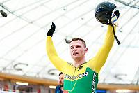 Picture by Alex Whitehead/SWpix.com - 10/12/2017 - Cycling - UCI Track Cycling World Cup Santiago - Velódromo de Peñalolén, Santiago, Chile - Lithuania's Vasilijus Lendel beats Russia's Denis Dmitriev for Gold in the Men's Sprint final.