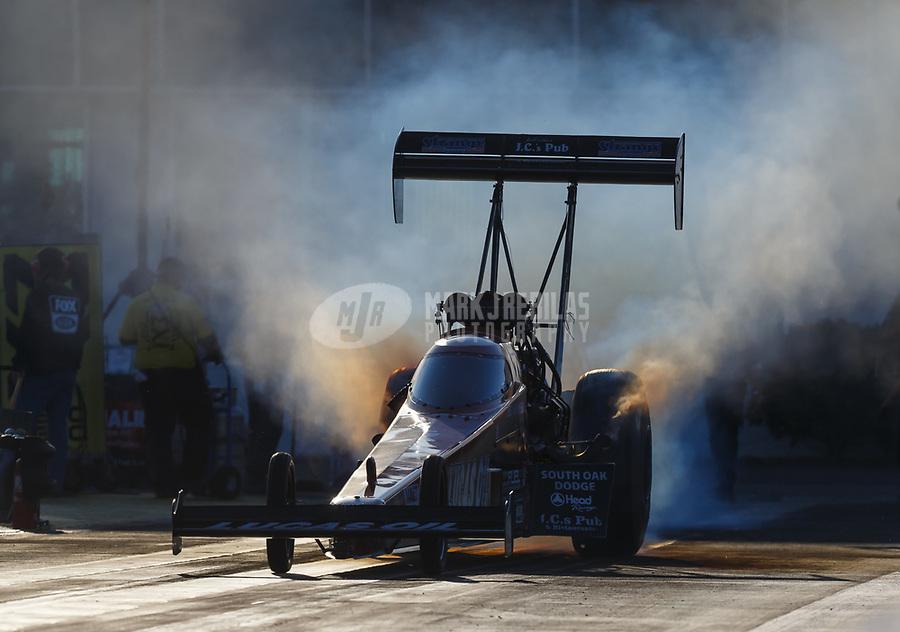 Mar 17, 2017; Gainesville , FL, USA; NHRA top fuel driver Chris Karamesines during qualifying for the Gatornationals at Gainesville Raceway. Mandatory Credit: Mark J. Rebilas-USA TODAY Sports