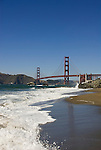 San Francisco: Baker Beach with Golden Gate Bridge in background.  Photo # 2-casanf83367.  Photo copyright Lee Foster