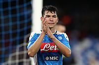 Hirving Lozano of Napoli greets <br /> Napoli 01-12-2019 Stadio San Paolo <br /> Football Serie A 2019/2020 <br /> SSC Napoli - Bologna FC<br /> Photo Cesare Purini / Insidefoto