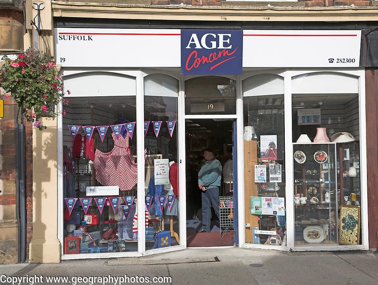 Age Concern charity shop, Felixstowe, Suffolk, England