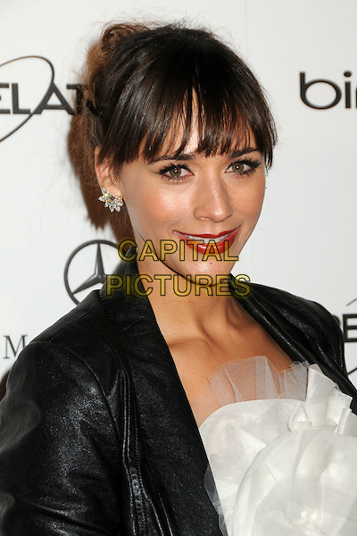 "RASHIDA JONES .attends the Art of Elysium 4th Annual Charity Gala ""Heaven"" held at The Annenberg Building at The California Science Center in Los Angeles, California, USA, January 15th 2011..portrait headshot fringe red lipstick make-up beauty white black leather earrings .CAP/ADM/BP.©Byron Purvis/AdMedia/Capital Pictures."