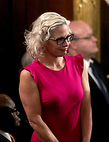 United States Senator Kyrsten Sinema (Democrat of Arizona) on the floor prior to US President Donald J. Trump delivering his second annual State of the Union Address to a joint session of the US Congress in the US Capitol in Washington, DC on Tuesday, February 5, 2019. Photo Credit: Alex Edelman/CNP/AdMedia
