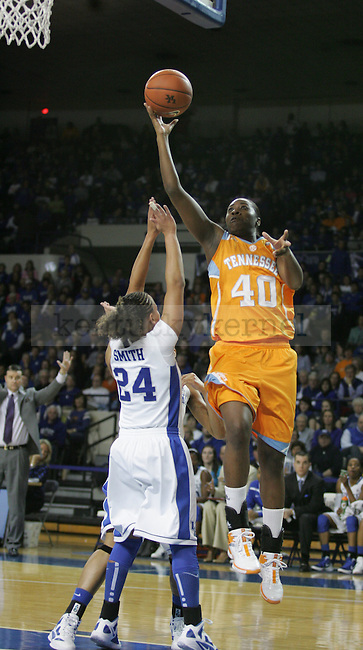 Amber Smith guards Shekinna Stricklen in the game between the University of Kentucky women's basketball team and the University of Tennessee in Memorial Coliseum, on Thursday, Jan. 12, 2012. Photo by Latara Appleby | Staff ..