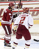 Casey Wellman (UMass - 7) celebrates his goal. - The Boston College Eagles defeated the University of Massachusetts-Amherst Minutemen 5-2 on Saturday, March 13, 2010, at Conte Forum in Chestnut Hill, Massachusetts, to sweep their Hockey East Quarterfinals matchup.