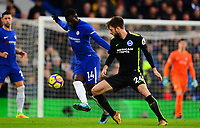 Tiémoué Bakayoko of Chelsea battles with Davy Propper of Brighton during the EPL - Premier League match between Chelsea and Brighton and Hove Albion at Stamford Bridge, London, England on 26 December 2017. Photo by PRiME Media Images.