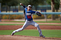 Los Angeles Dodgers pitcher Jose Santos (56) during an instructional league game against the Cincinnati Reds on October 20, 2015 at Cameblack Ranch in Glendale, Arizona.  (Mike Janes/Four Seam Images)