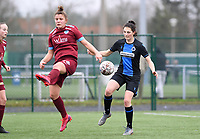 20200208 – BRUGGE, BELGIUM : Genk's Karlijn Knapen pictured in a duel with Club Brugge's Frieke Temmerman during a women soccer game between Dames Club Brugge and KRC Genk Ladies on the 15 th matchday of the Belgian Superleague season 2019-2020 , the Belgian women's football  top division , saturday 08 th February 2020 at the Jan Breydelstadium – terrain 4  in Brugge  , Belgium  .  PHOTO SPORTPIX.BE | DAVID CATRY