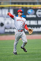 Greeneville Reds left fielder Nate Scantlin (17) throws from the outfield during the first game of a doubleheader against the Princeton Rays on July 25, 2018 at Hunnicutt Field in Princeton, West Virginia.  Princeton defeated Greeneville 6-4.  (Mike Janes/Four Seam Images)