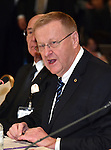November 29, 2016, Tokyo, Japan - Vice President John Coates of the International Olympic Committee speaks during a four-party meeting to review costs and venues for the 2020 Tokyo Olympics and Paralympics at a Tokyo hotel on Tuesday, November 29, 2016. The four top-level representatives of the IOC, 2020 Games organizers, the Tokyo Metropolitan and Japanese governments discussed details regarding the venues for rowing/canoe and volleyball based on proposals by the metropolitan government.  (Photo by Natsuki Sakai/AFLO) AYF -mis-