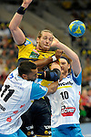 GER - Mannheim, Germany, September 23: During the DKB Handball Bundesliga match between Rhein-Neckar Loewen (yellow) and TVB 1898 Stuttgart (white) on September 23, 2015 at SAP Arena in Mannheim, Germany. Final score 31-20 (19-8) .  Kim Ekdahl du Rietz #60 of Rhein-Neckar Loewen, Djibril MBengue #11 of TVB 1898 Stuttgart, Kasper Kisum #10 of TVB 1898 Stuttgart<br /> <br /> Foto &copy; PIX-Sportfotos *** Foto ist honorarpflichtig! *** Auf Anfrage in hoeherer Qualitaet/Aufloesung. Belegexemplar erbeten. Veroeffentlichung ausschliesslich fuer journalistisch-publizistische Zwecke. For editorial use only.
