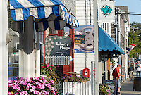 Shop fronts along Water Street, Woods Hole, Cape Cod, Massachusetts, USA