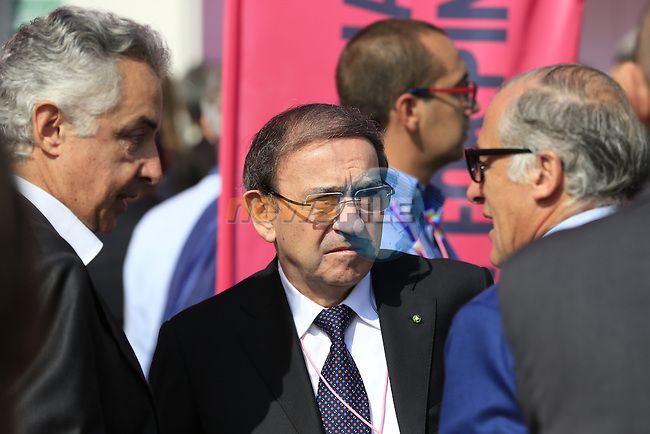 Ernesto Colnago at the Giro d'Italia 2016 Presentation held at Expo Milano, Milan, Italy. 5th October 2015.<br /> Picture: Eoin Clarke | Newsfile