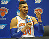 Enes Kanter of the New York Knicks kids with reporters as he fields questions during the team's Media Day held at Madison Square Garden Training Center in Greenburgh, NY on Monday, Sept. 24, 2018.