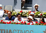 Players of Atletico de Madrid Jan Oblak and Stefan Savic and player of Movistar Interviu Ricardinho during the match between Novak Djokovic and Jeremy Chardy in Madrid