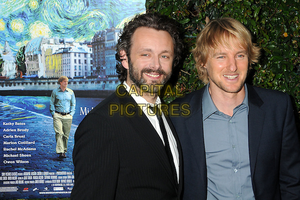 "MICHAEL SHEEN & OWEN WILSON .""Midnight In Paris"" Los Angeles Premiere held at the AMPAS Samuel Goldwyn Theater, Beverly Hills, California, USA, 18th May 2011..half length hands in pockets blue shirt navy jacket beard facial hair black white pinstripe suit .CAP/ADM/BP.©Byron Purvis/AdMedia/Capital Pictures."