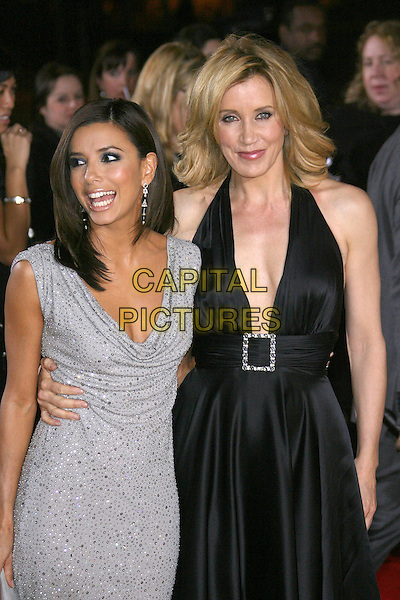 EVA LONGORIA & FELICITY HUFFMAN.The 33rd Annual People's Choice Awards - Arrivals held at The Shrine Auditorium, Los Angeles, California, USA,.9 January 2007. .half length grey silver dress black dress halterneck plunging neckline .CAP/ADM/ZL.©Zach Lipp/AdMedia/Capital Pictures.
