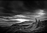 Storm clouds over Storr in Skye with rock formation visable