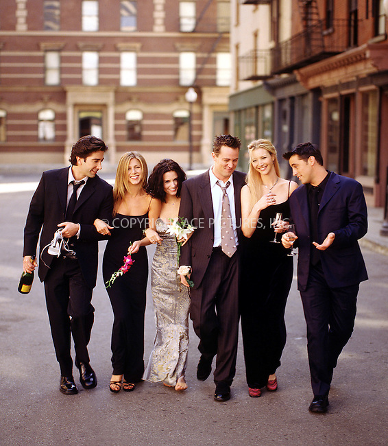 FILE PHOTO circa 2000: Matthew Perry, Courteney Cox Arquette,  Matt LeBlanc, Lisa Kudrow, David Schwimmer, Jennifer Aniston -- cast of popular TV show 'Friends.'....Please do not credit.   ....ACE Pictures does not claim any Copyright or License in the attached material. The attached material intended for reference or research. By publishing this material, the user expressly agrees to indemnify and to hold ACE Pictures harmless from any claims, demands, or causes of action arising out of or connected in any way with user's publication of the material.      ....IMPORTANT: Please note that our old trade name, NEW YORK PHOTO PRESS (NYPP), is replaced by our new name, ACE PICTURES. New York Photo Press and ACE Pictures are owned by All Celebrity Entertainment, Inc.....All Celebrity Entertainment, Inc:  ..contact: Alecsey Boldeskul (646) 267-6913; ..Philip Vaughan (646) 769-0430..e-mail: info@nyphotopress.com