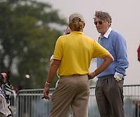 July 4th, 2006. Smurfit Kappa European Open 2006, Straffan, Kildare..Miguel Angel Jimenez talks to K Club owner Michael Smurfit..Photo: BARRY CRONIN/Newsfile..(Photo credit should read BARRY CRONIN/NEWSFILE).